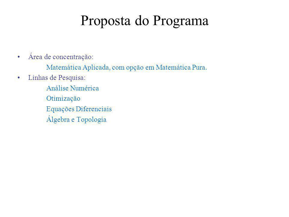 Proposta do Programa Área de concentração: Matemática Aplicada, com opção em Matemática Pura.