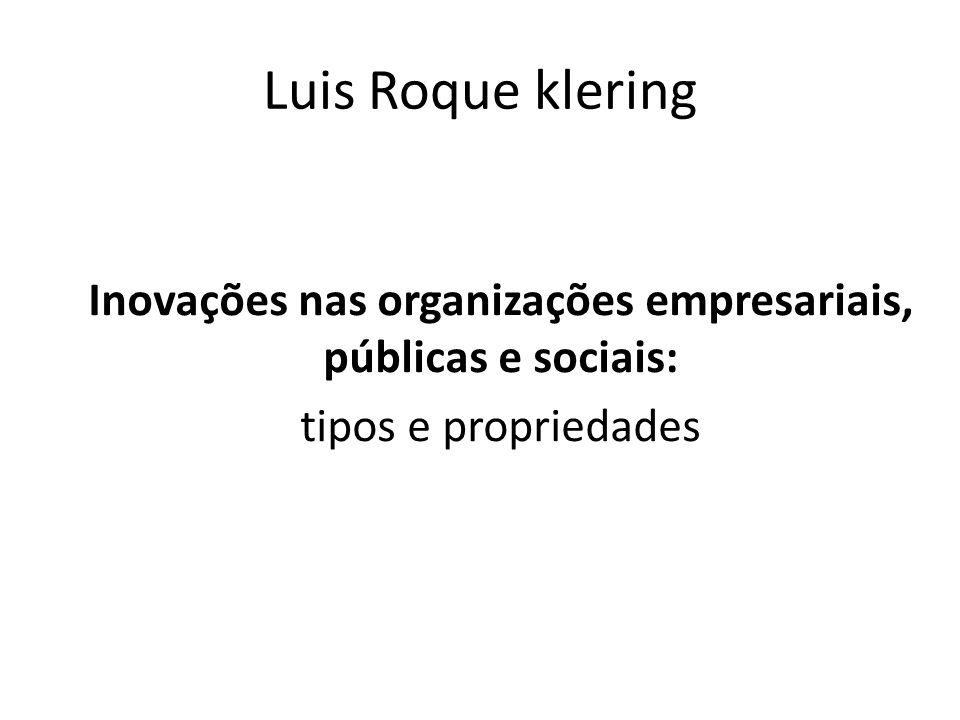 Luis Roque klering Inovações nas organizações empresariais, públicas e sociais: tipos e propriedades