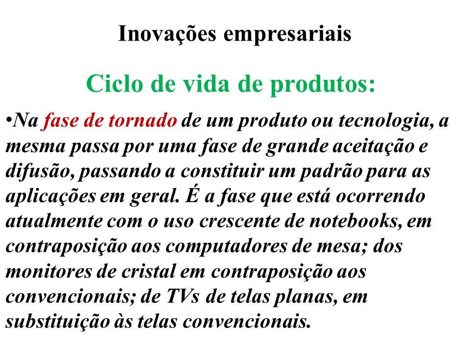 Inovações empresariais Ciclo de vida de produtos: Na fase de tornado de um produto ou tecnologia, a mesma passa por uma fase de grande aceitação e dif