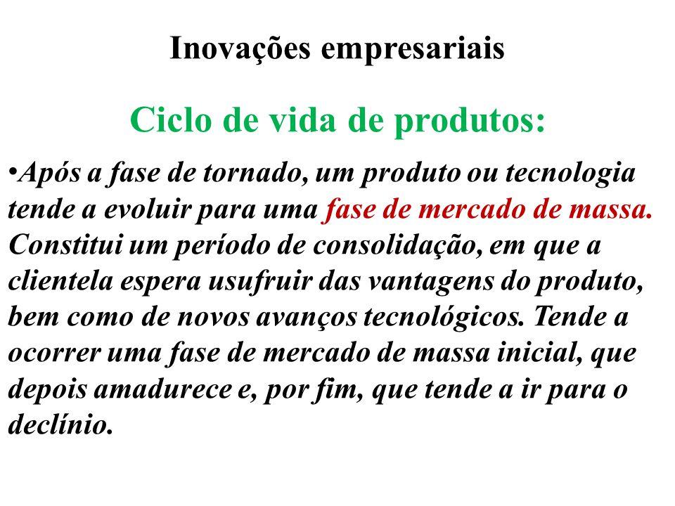 Inovações empresariais Ciclo de vida de produtos: Após a fase de tornado, um produto ou tecnologia tende a evoluir para uma fase de mercado de massa.