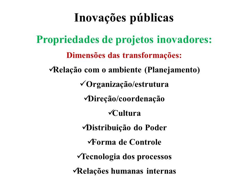 Inovações públicas Propriedades de projetos inovadores: Dimensões das transformações: Relação com o ambiente (Planejamento) Organização/estrutura Dire