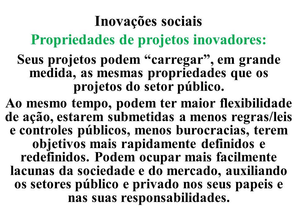 """Inovações sociais Propriedades de projetos inovadores: Seus projetos podem """"carregar"""", em grande medida, as mesmas propriedades que os projetos do set"""
