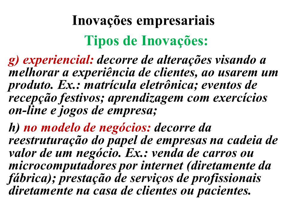 Inovações empresariais Tipos de Inovações: g) experiencial: decorre de alterações visando a melhorar a experiência de clientes, ao usarem um produto.
