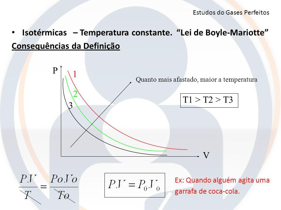 P V Quanto mais afastado, maior a temperatura 1 2 3 T1 > T2 > T3 Estudos do Gases Perfeitos Ex: Quando alguém agita uma garrafa de coca-cola. Isotérmi