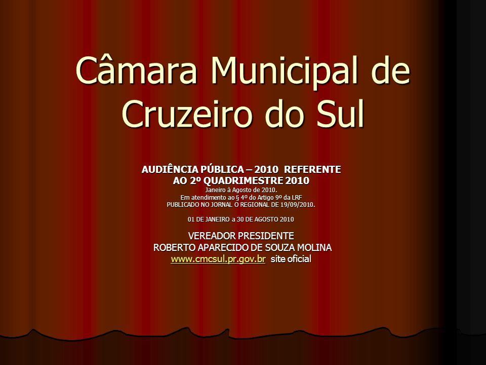 Câmara Municipal de Cruzeiro do Sul AUDIÊNCIA PÚBLICA – 2010 REFERENTE AO 2º QUADRIMESTRE 2010 Janeiro à Agosto de 2010.