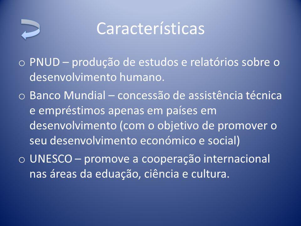 o PNUD – produção de estudos e relatórios sobre o desenvolvimento humano. o Banco Mundial – concessão de assistência técnica e empréstimos apenas em p