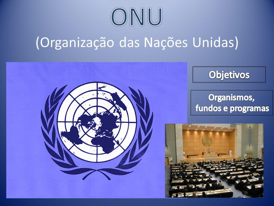 OMS (Organização Mundial de Saúde) ACNUR (Alto Comissariado das Nações Unidas para os Refugiados) FMI (Fundo Monetário Internacional) FAO (Food and Agriculture Organization)