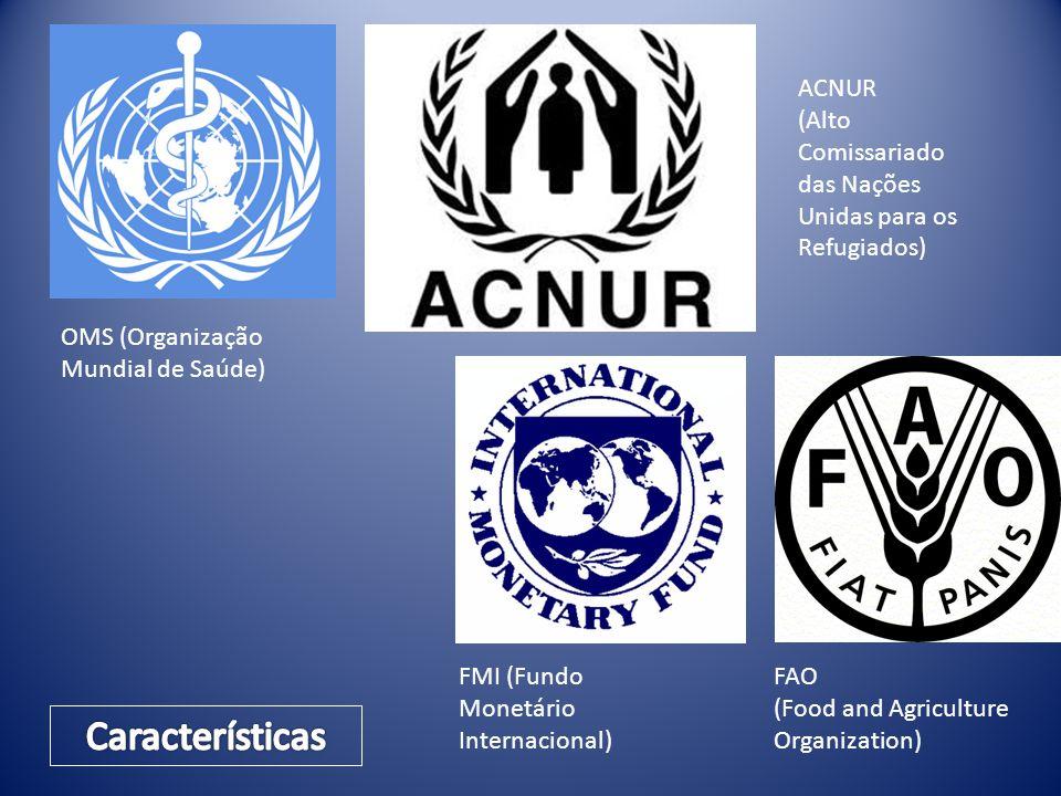 OMS (Organização Mundial de Saúde) ACNUR (Alto Comissariado das Nações Unidas para os Refugiados) FMI (Fundo Monetário Internacional) FAO (Food and Ag