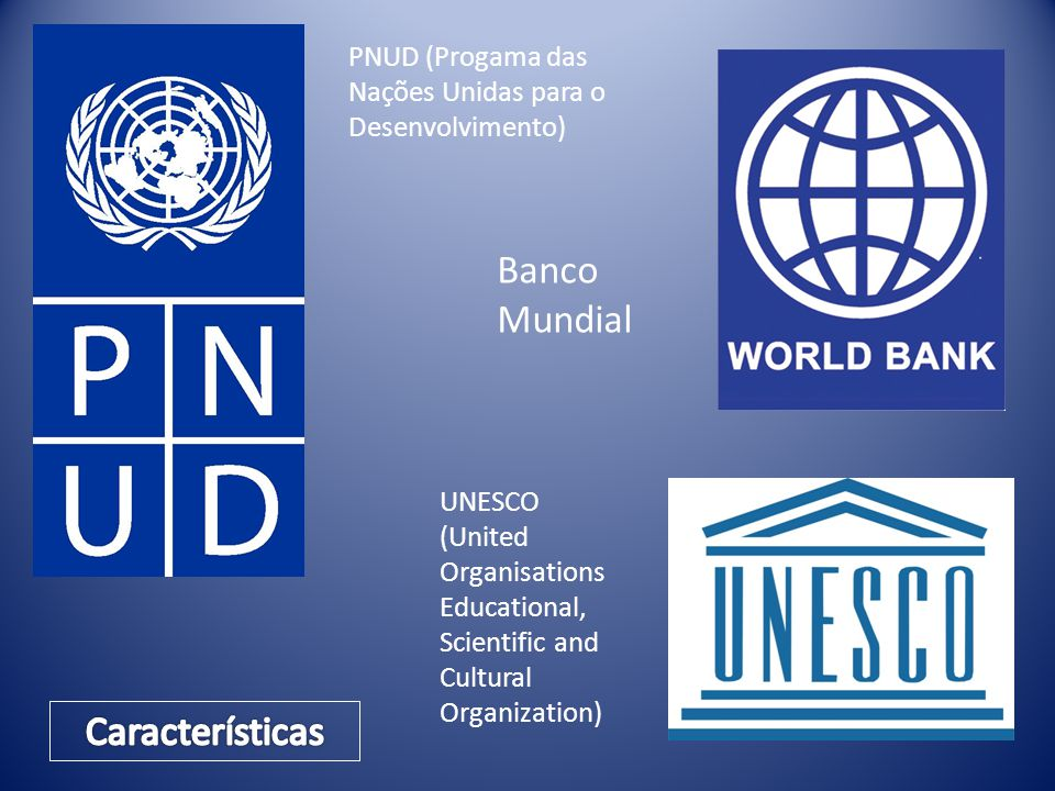 PNUD (Progama das Nações Unidas para o Desenvolvimento) Banco Mundial UNESCO (United Organisations Educational, Scientific and Cultural Organization)
