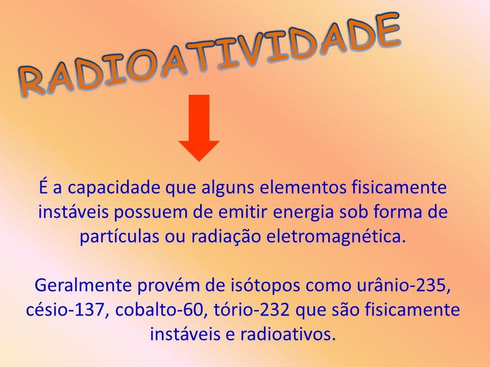 É a capacidade que alguns elementos fisicamente instáveis possuem de emitir energia sob forma de partículas ou radiação eletromagnética. Geralmente pr