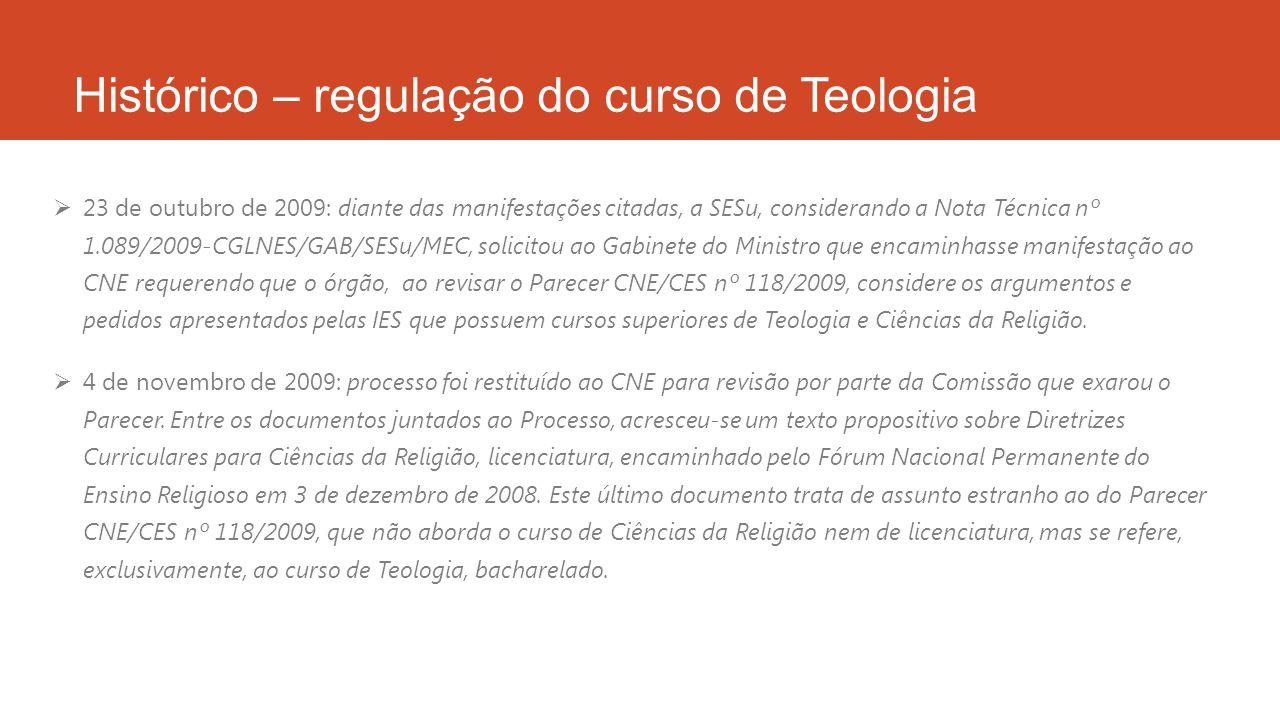 Histórico – regulação do curso de Teologia  24 de novembro de 2009: a Conselheira-Relatora reuniu-se, em São Paulo, com os professores da Faculdade de Teologia e Ciências Religiosas, a convite dos mesmos, para discussão do Parecer CNE/CES nº 118/2009.