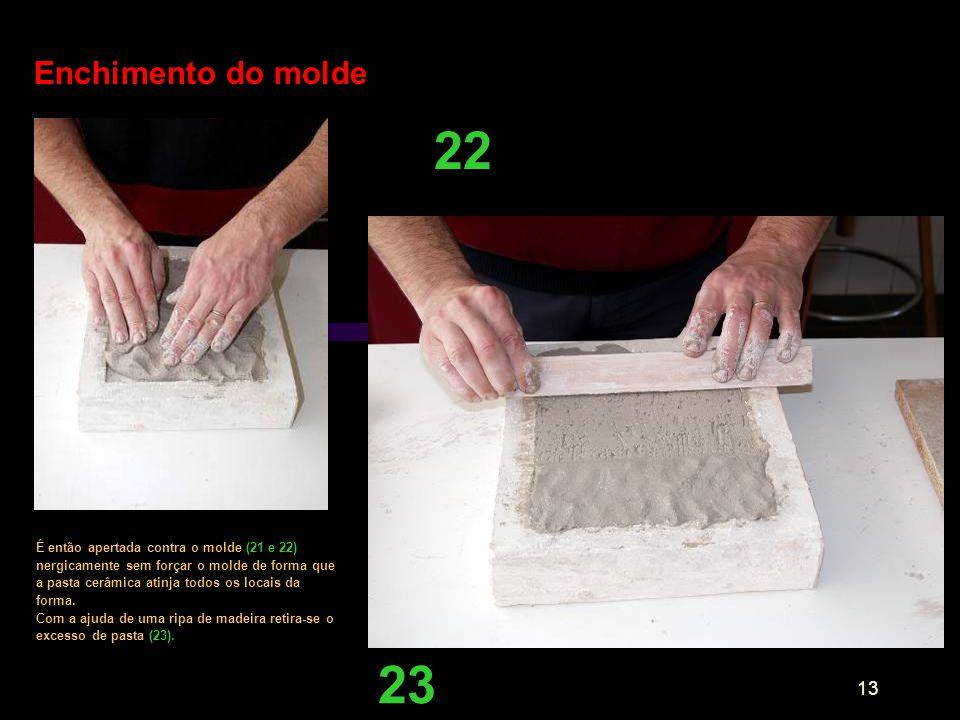 13 Enchimento do molde É então apertada contra o molde (21 e 22) nergicamente sem forçar o molde de forma que a pasta cerâmica atinja todos os locais