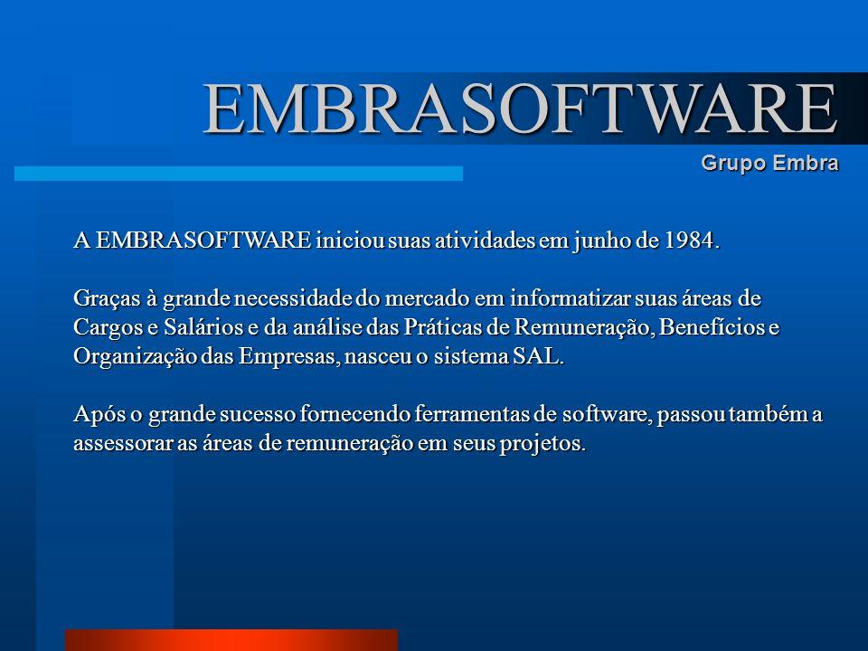 A EMBRASOFTWARE iniciou suas atividades em junho de 1984. Graças à grande necessidade do mercado em informatizar suas áreas de Cargos e Salários e da