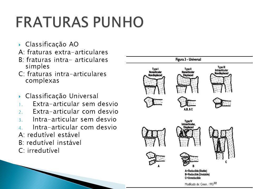  Classificação AO A: fraturas extra-articulares B: fraturas intra- articulares simples C: fraturas intra-articulares complexas  Classificação Univer