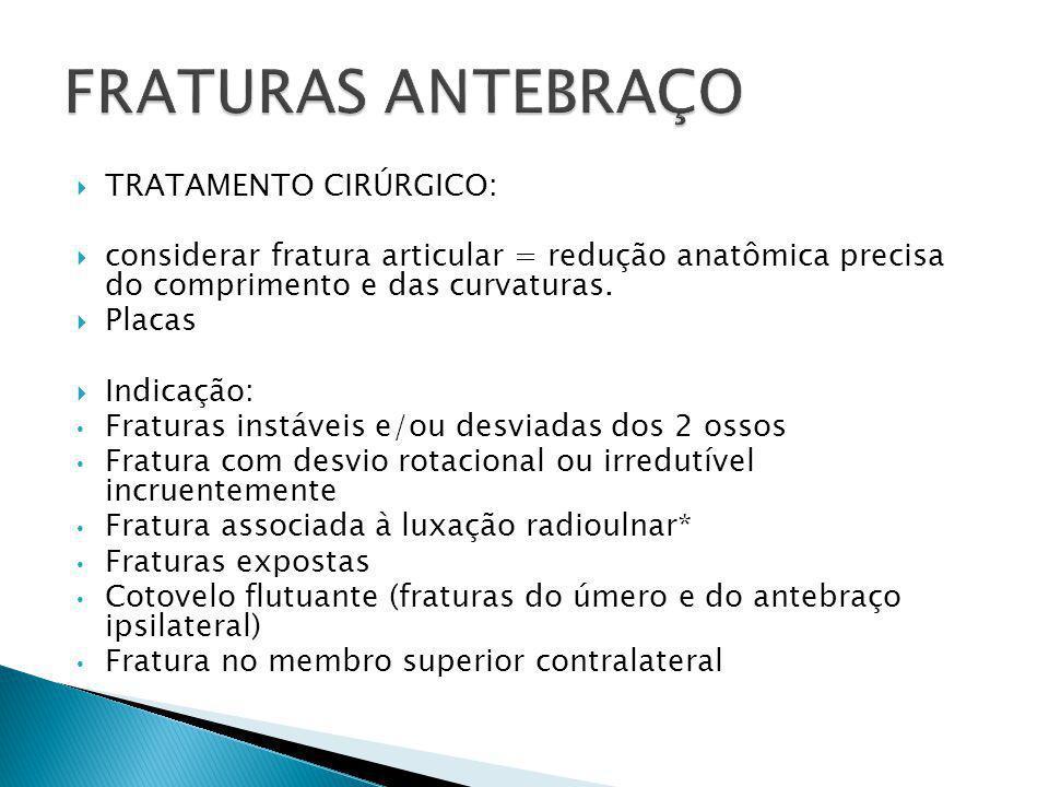  TRATAMENTO CIRÚRGICO:  considerar fratura articular = redução anatômica precisa do comprimento e das curvaturas.  Placas  Indicação: Fraturas ins