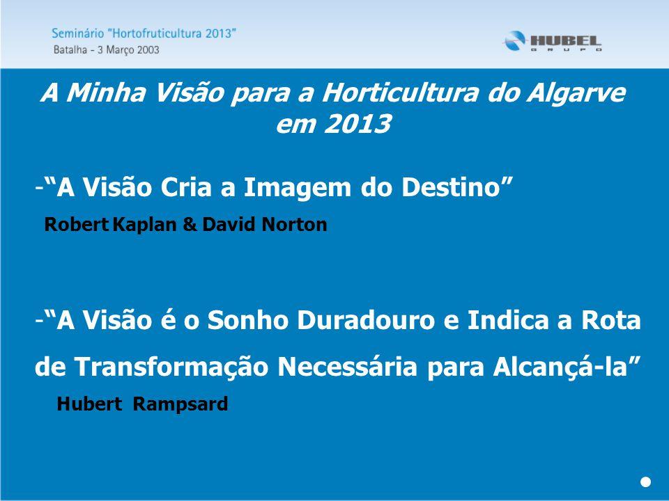 - A Visão é o Sonho Duradouro e Indica a Rota de Transformação Necessária para Alcançá-la Hubert Rampsard - A Visão Cria a Imagem do Destino Robert Kaplan & David Norton A Minha Visão para a Horticultura do Algarve em 2013