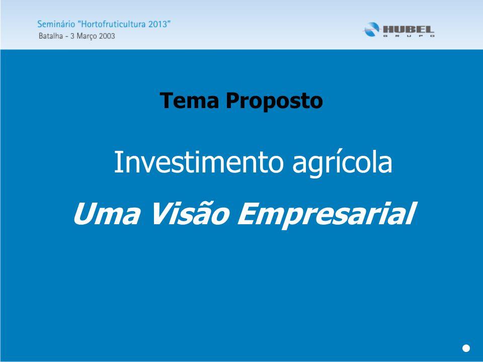 Investimento agrícola Uma Visão Empresarial Tema Proposto