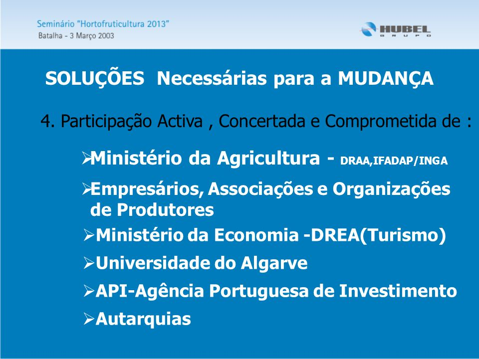 4. Participação Activa, Concertada e Comprometida de :  Empresários, Associações e Organizações de Produtores  Ministério da Agricultura - DRAA,IFAD