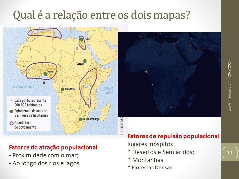 Qual é a relação entre os dois mapas? Fatores de atração populacional - Proximidade com o mar; - Ao longo dos rios e lagos Fatores de repulsão populac