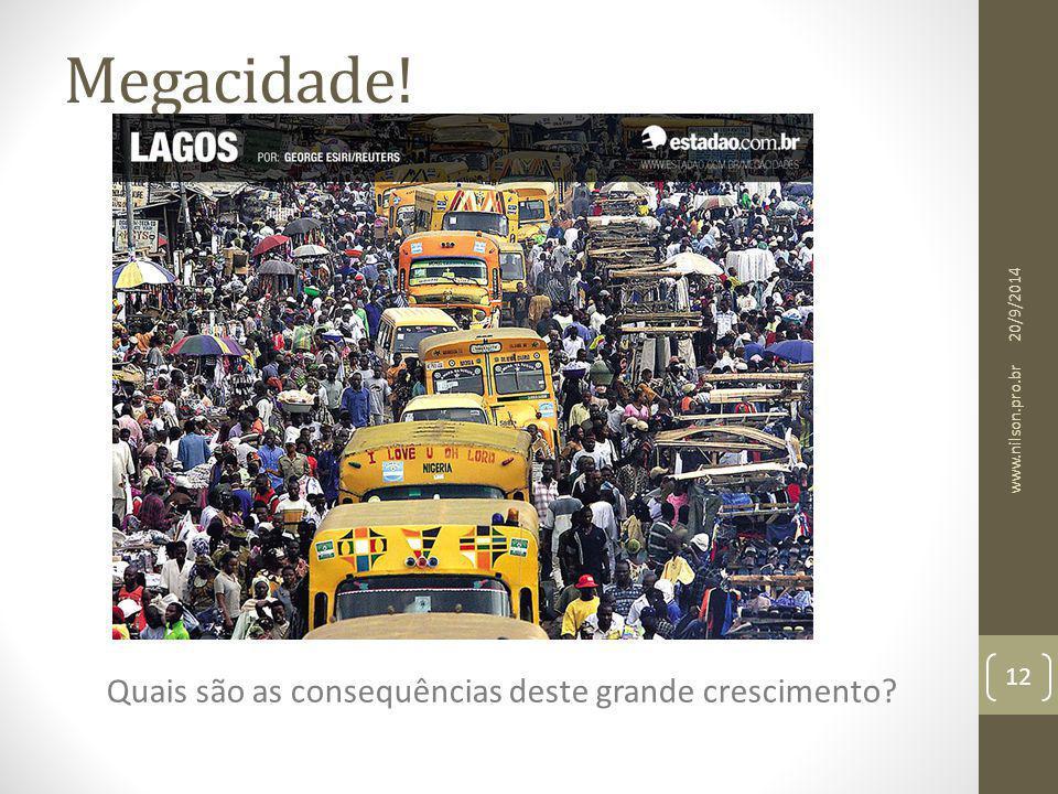 Megacidade! Quais são as consequências deste grande crescimento? 20/9/2014 12 www.nilson.pro.br