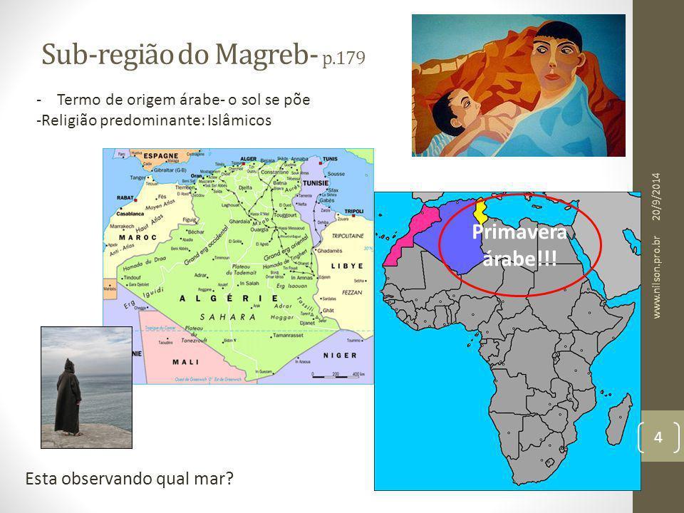 Sub-região do Magreb- p.179 Esta observando qual mar? - Termo de origem árabe- o sol se põe -Religião predominante: Islâmicos Primavera árabe!!! 20/9/