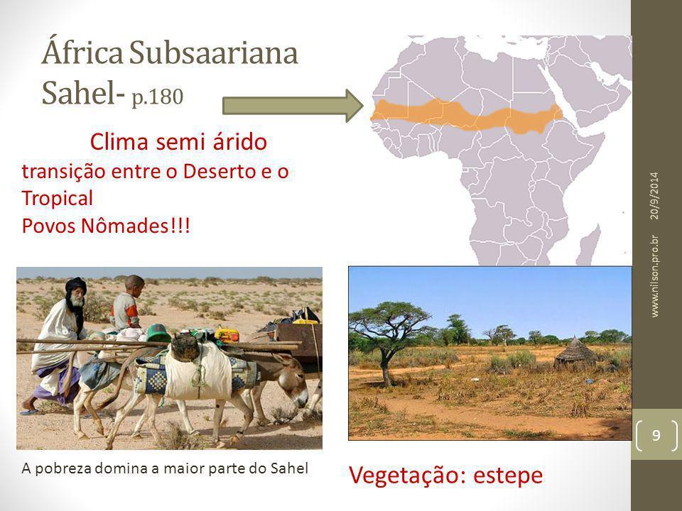 África Subsaariana Sahel- p.180 A pobreza domina a maior parte do Sahel Clima semi árido transição entre o Deserto e o Tropical Povos Nômades!!! Veget