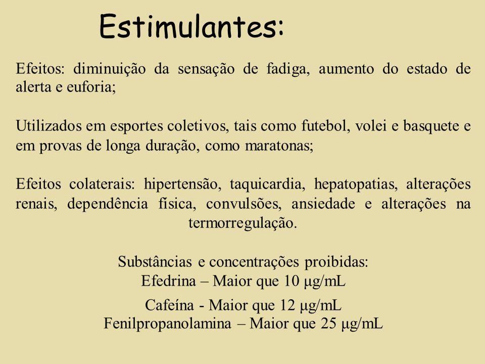 Estimulantes: Efeitos: diminuição da sensação de fadiga, aumento do estado de alerta e euforia; Utilizados em esportes coletivos, tais como futebol, v