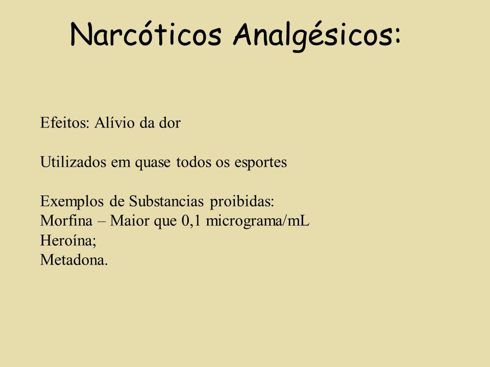 Narcóticos Analgésicos: Efeitos: Alívio da dor Utilizados em quase todos os esportes Exemplos de Substancias proibidas: Morfina – Maior que 0,1 microg