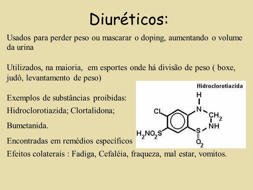 Diuréticos: Usados para perder peso ou mascarar o doping, aumentando o volume da urina Utilizados, na maioria, em esportes onde há divisão de peso ( b