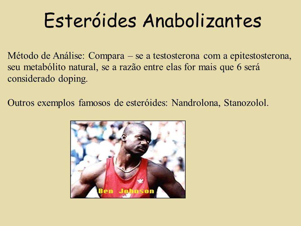 Esteróides Anabolizantes Método de Análise: Compara – se a testosterona com a epitestosterona, seu metabólito natural, se a razão entre elas for mais