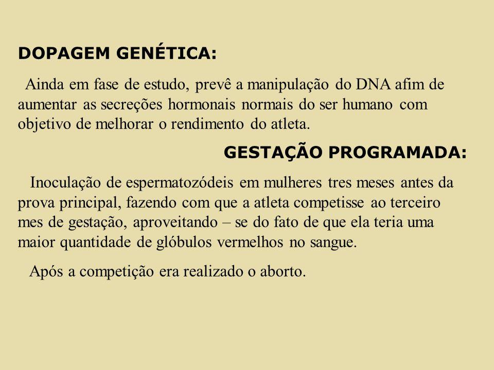 DOPAGEM GENÉTICA: Ainda em fase de estudo, prevê a manipulação do DNA afim de aumentar as secreções hormonais normais do ser humano com objetivo de me