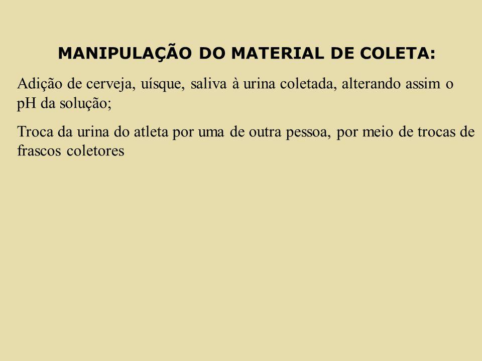 MANIPULAÇÃO DO MATERIAL DE COLETA: Adição de cerveja, uísque, saliva à urina coletada, alterando assim o pH da solução; Troca da urina do atleta por u