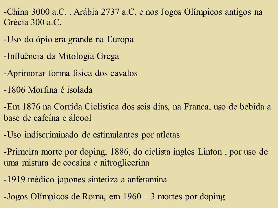 -China 3000 a.C., Arábia 2737 a.C. e nos Jogos Olímpicos antigos na Grécia 300 a.C. -Uso do ópio era grande na Europa -Influência da Mitologia Grega -