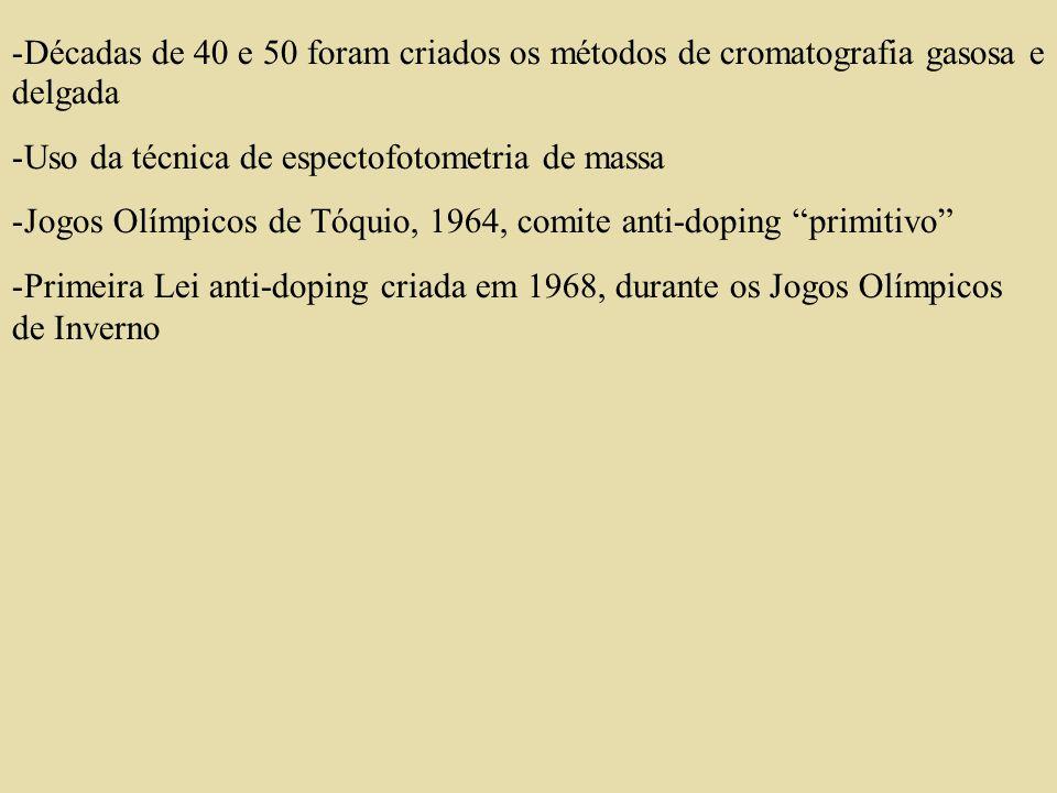 CLASSES DE SUBSTÂNCIAS DOPANTES