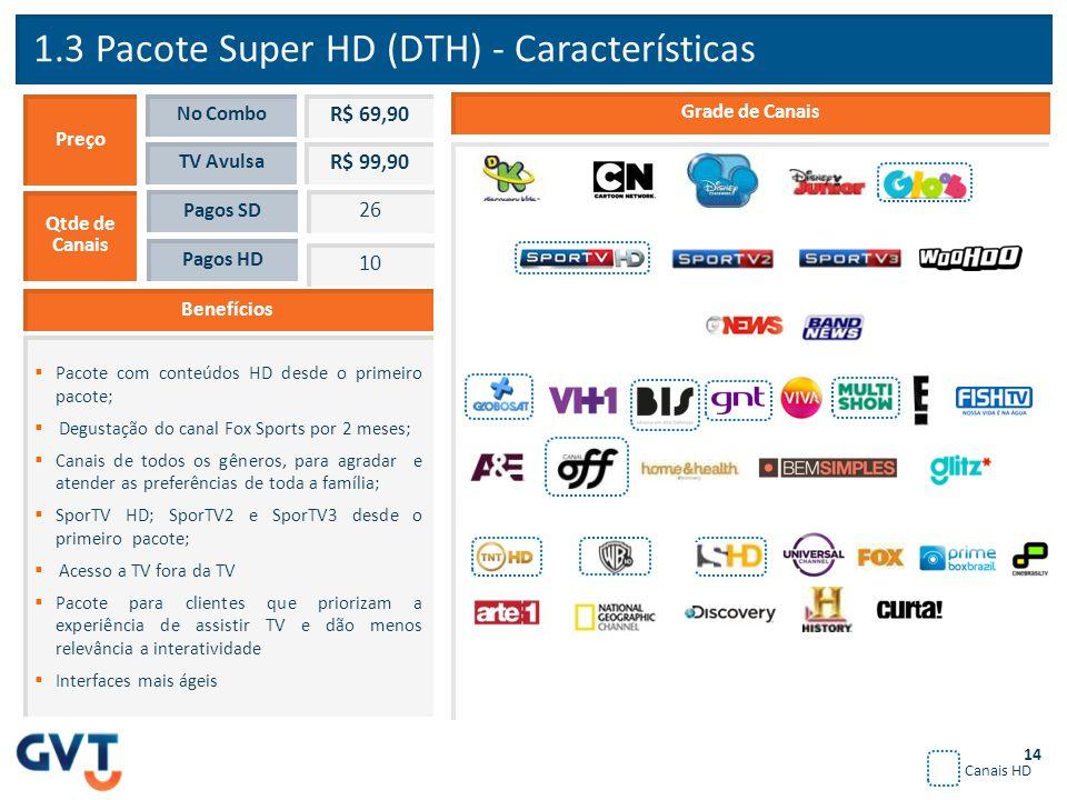 1.3 Pacote Super HD (DTH) - Características Benefícios  Pacote com conteúdos HD desde o primeiro pacote;  Degustação do canal Fox Sports por 2 meses