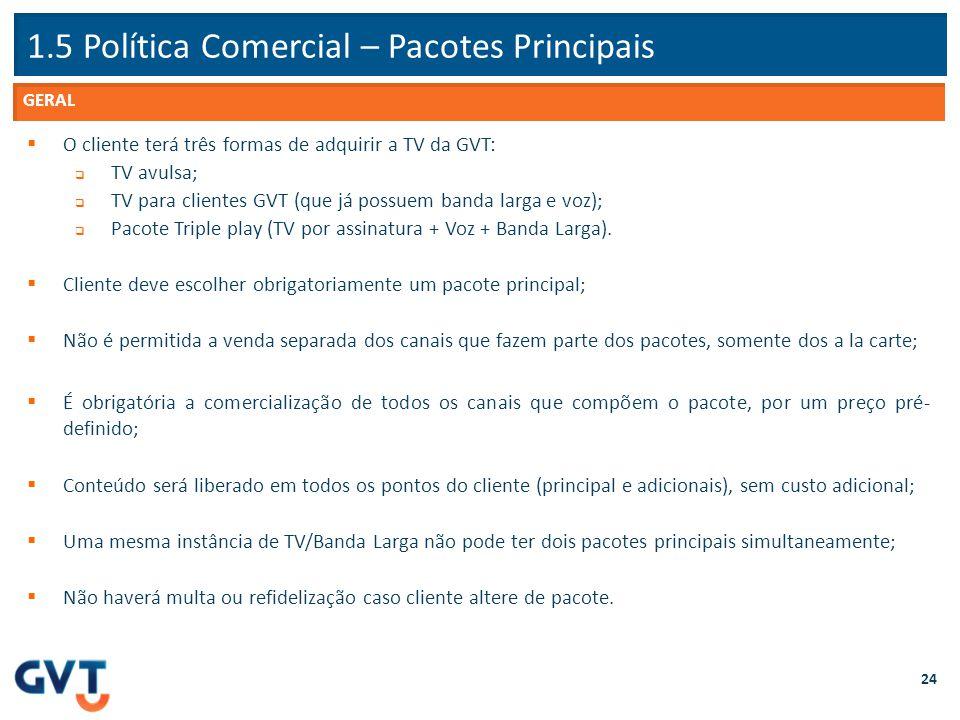 1.5 Política Comercial – Pacotes Principais 24  O cliente terá três formas de adquirir a TV da GVT:  TV avulsa;  TV para clientes GVT (que já possu