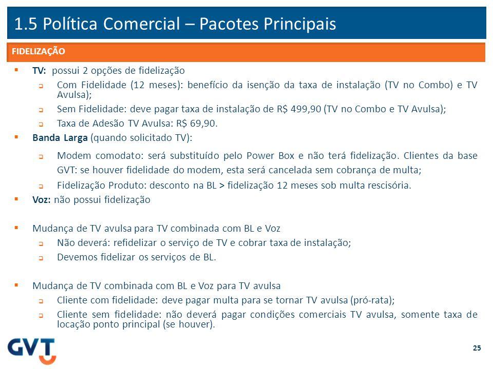 1.5 Política Comercial – Pacotes Principais 25  TV: possui 2 opções de fidelização  Com Fidelidade (12 meses): benefício da isenção da taxa de insta