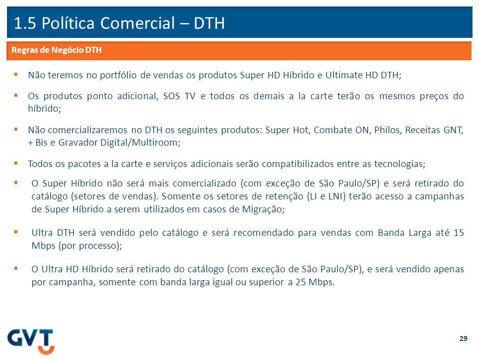 1.5 Política Comercial – DTH 29  Não teremos no portfólio de vendas os produtos Super HD Híbrido e Ultimate HD DTH;  Os produtos ponto adicional, SO