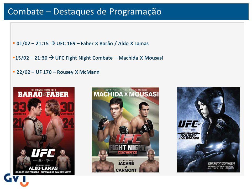 Combate – Destaques de Programação  01/02 – 21:15  UFC 169 – Faber X Barão / Aldo X Lamas  15/02 – 21:30  UFC Fight Night Combate – Machida X Mous
