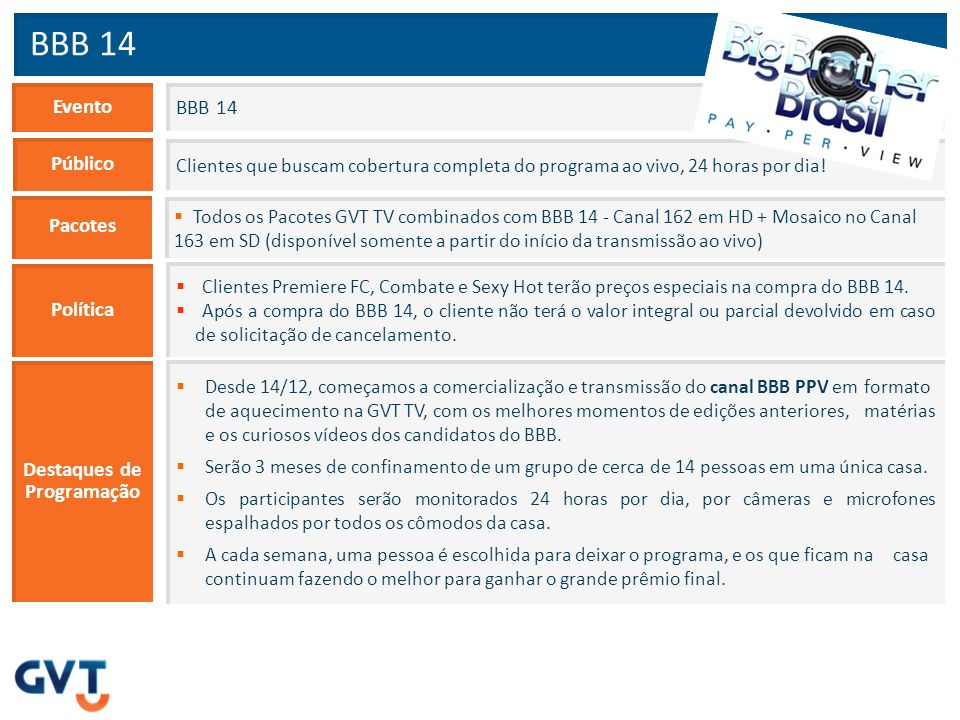 Preços para Comercialização BBB 14 Mês da Compra BBB 14 Avulso Argumentação 2 x R$ 97,75 (Total: 195,50) Fevereiro 1 x R$ 184,00 (Total: 184,00) Março BBB 14 com Premiere FC, Combate Sexy Hot 2 x R$ 92,86 (Total: 185,72) 1 x R$ 174,80 (Total: 174,80)  Só quem é assinante do Big Brother Brasil em PPV fica sabendo todos os detalhes de um dos programas de maior audiência da TV brasileira.