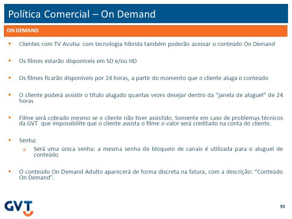 Política Comercial – On Demand 55  Clientes com TV Avulsa com tecnologia híbrida também poderão acessar o conteúdo On Demand  Os filmes estarão disp