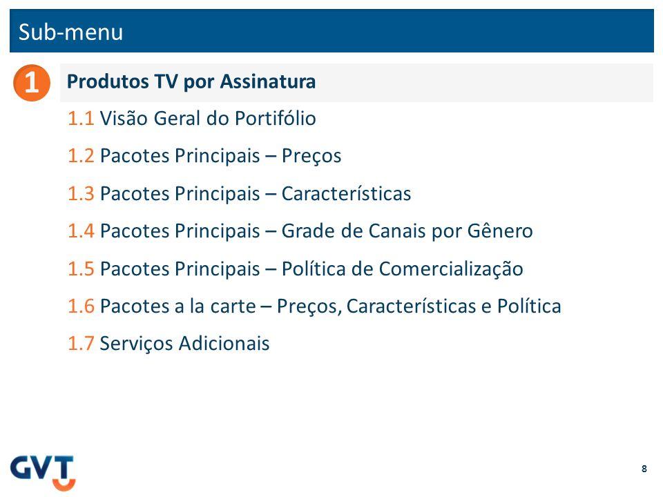 Sub-menu 8 Produtos TV por Assinatura 1 1.1 Visão Geral do Portifólio 1.2 Pacotes Principais – Preços 1.3 Pacotes Principais – Características 1.4 Pac