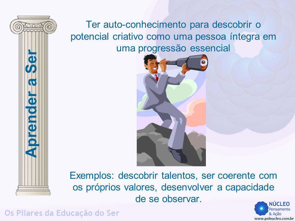 www.pnlnucleo.com.br Os Pilares da Educação do Ser Ter auto-conhecimento para descobrir o potencial criativo como uma pessoa íntegra em uma progressão