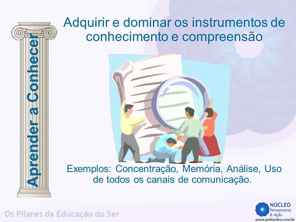 www.pnlnucleo.com.br Os Pilares da Educação do Ser A capacidade de mobilizar recursos pessoais para conseguir uma abordagem e/ou solução, numa situação complexa COMPETÊNCIA