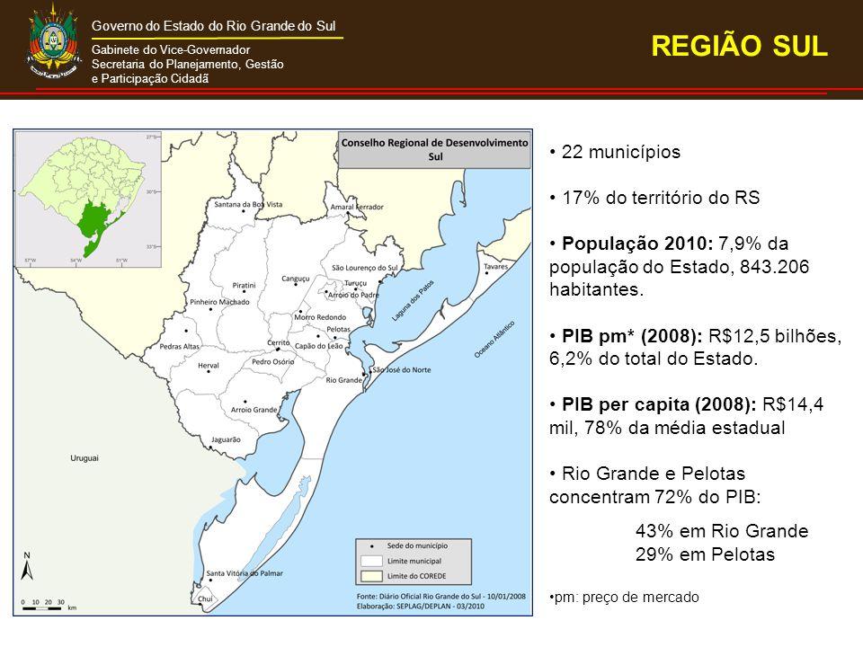 Gabinete do Vice-Governador Secretaria do Planejamento, Gestão e Participação Cidadã Governo do Estado do Rio Grande do Sul 22 municípios 17% do território do RS População 2010: 7,9% da população do Estado, 843.206 habitantes.
