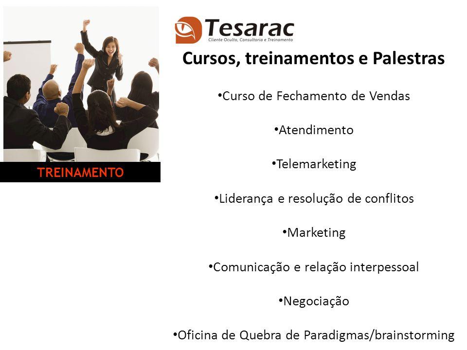 Cursos, treinamentos e Palestras Curso de Fechamento de Vendas Atendimento Telemarketing Liderança e resolução de conflitos Marketing Comunicação e re