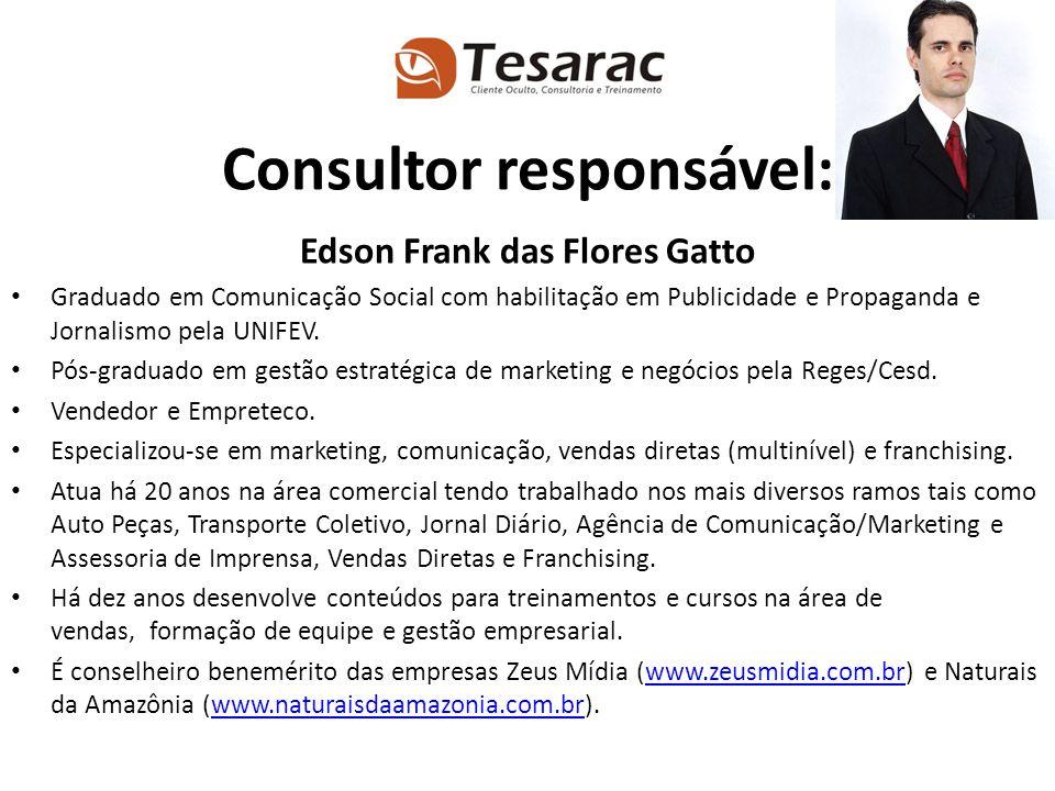 Edson Frank das Flores Gatto Graduado em Comunicação Social com habilitação em Publicidade e Propaganda e Jornalismo pela UNIFEV. Pós-graduado em gest