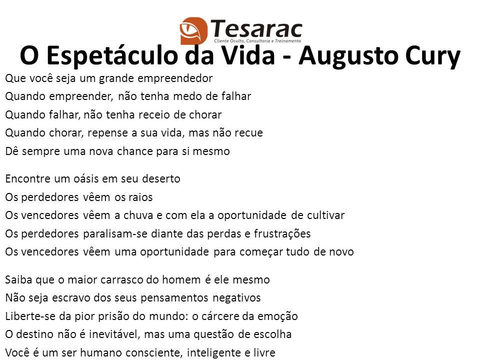 O Espetáculo da Vida - Augusto Cury Que você seja um grande empreendedor Quando empreender, não tenha medo de falhar Quando falhar, não tenha receio d