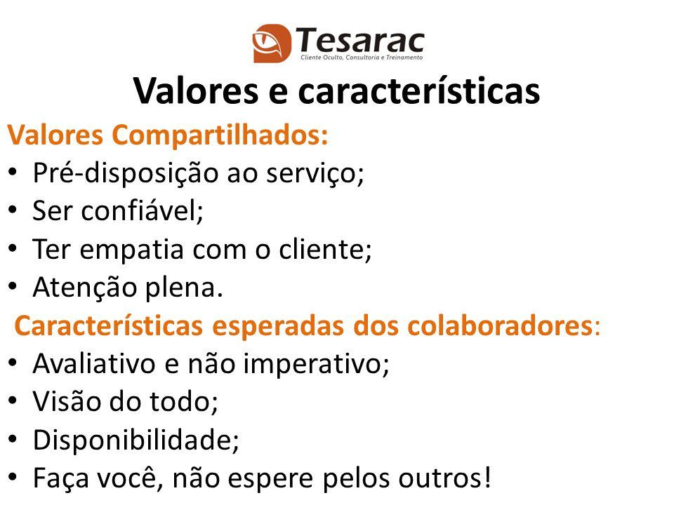 Valores Compartilhados: Pré-disposição ao serviço; Ser confiável; Ter empatia com o cliente; Atenção plena. Características esperadas dos colaboradore