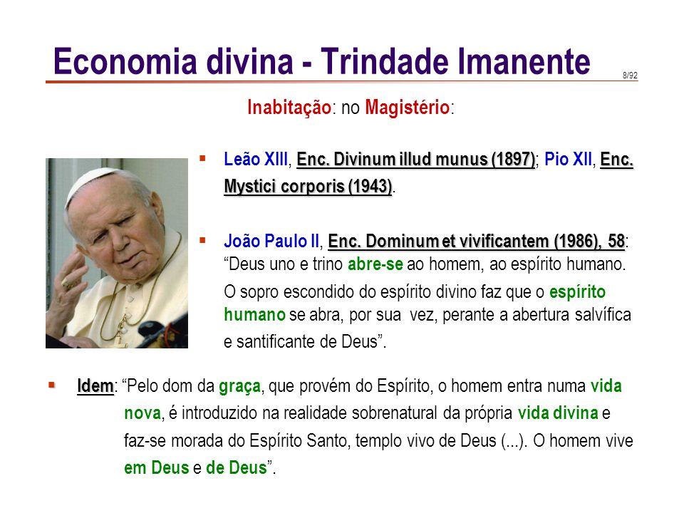 8/92 Enc. Divinum illud munus (1897)Enc.  Leão XIII, Enc. Divinum illud munus (1897) ; Pio XII, Enc. Mystici corporis (1943) Mystici corporis (1943).